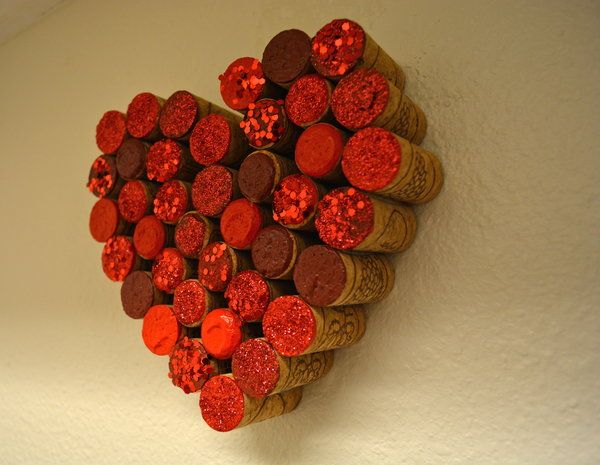DIY Wall Decor- Heart Wine Cork Craft great for Valentine's Day