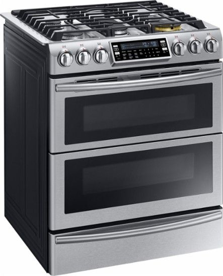 Samsung - Chef Collection 5.8 Cu. Ft. Self-Cleaning Slide-In Double Oven Dual Fuel Convection Range - Stainless Steel - Angle Zoom