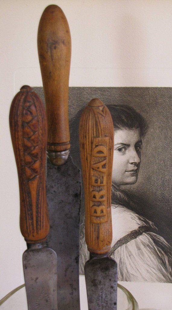 Antique Bread Knives/ English Bread Knives/ Farmhouse Kitchen/ Kitchen Tools