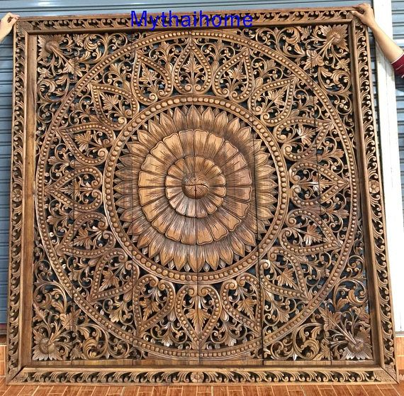 72 White Large Thick King Bed Mandala Bohemian Headboard Lotus Flower Wooden Hand Craved Craving Teak Wood Art Panel Wall Home Decor Thai Carved Headboard Wood Art Panels Teak Wood Art
