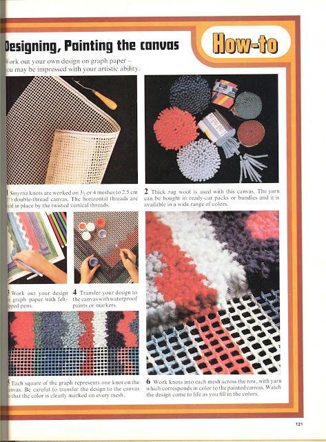 Design your own latch hook rug vintage retro 70s yarn diy make it yourself