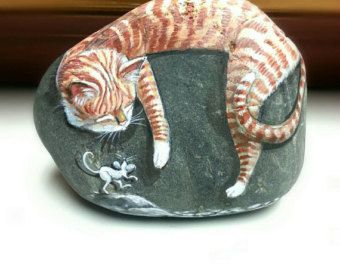 Sleeping Tabby Cat as White Mice Tiptoe, painted rocks by Shelli Bowler, this painted stone is ready for purchase