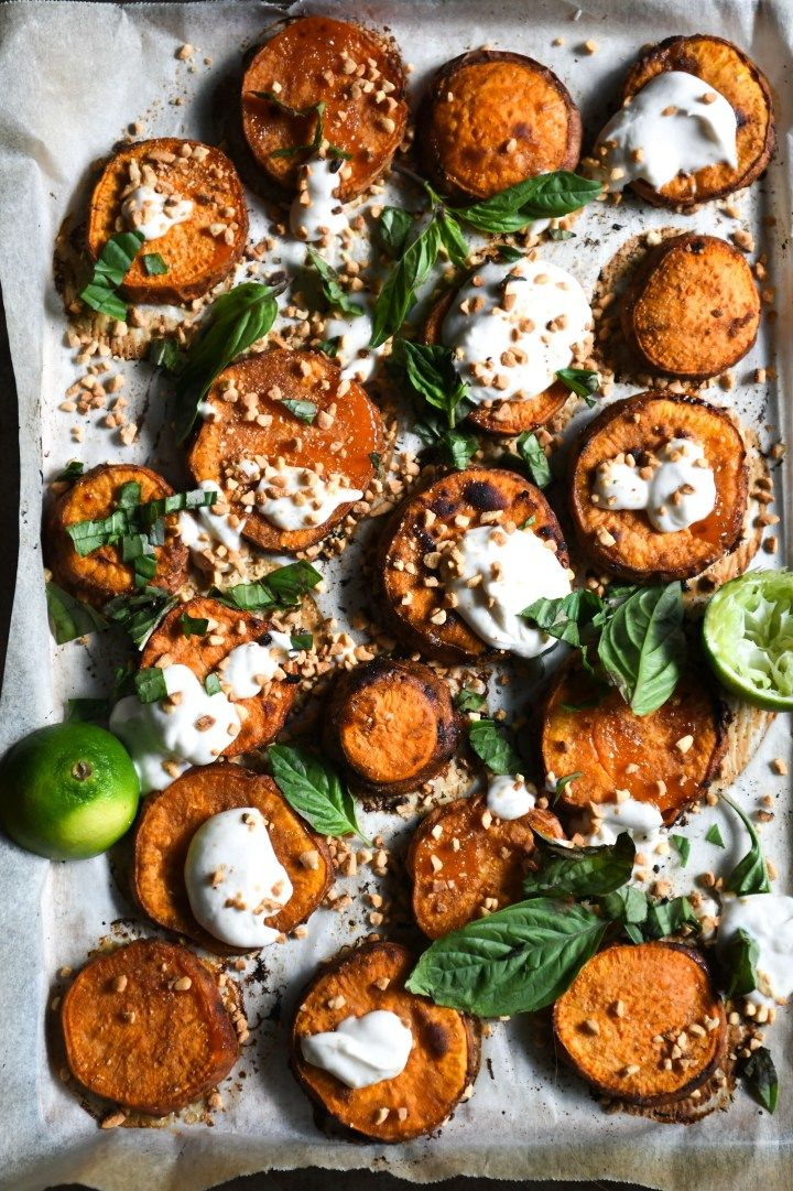 Lemongrass And Lime Roasted Sweet Potatoes With Kaffir Coconut Yoghurt And Crushed Peanuts