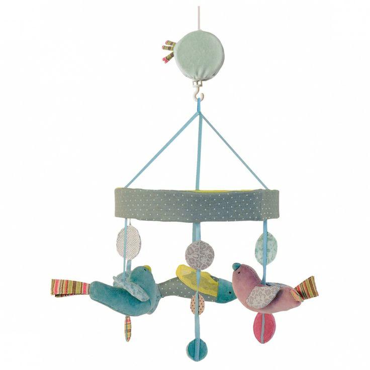 Mobile musical Oiseaux Les Pachats : Moulin Roty - Mobile support plastique - Berceau Magique