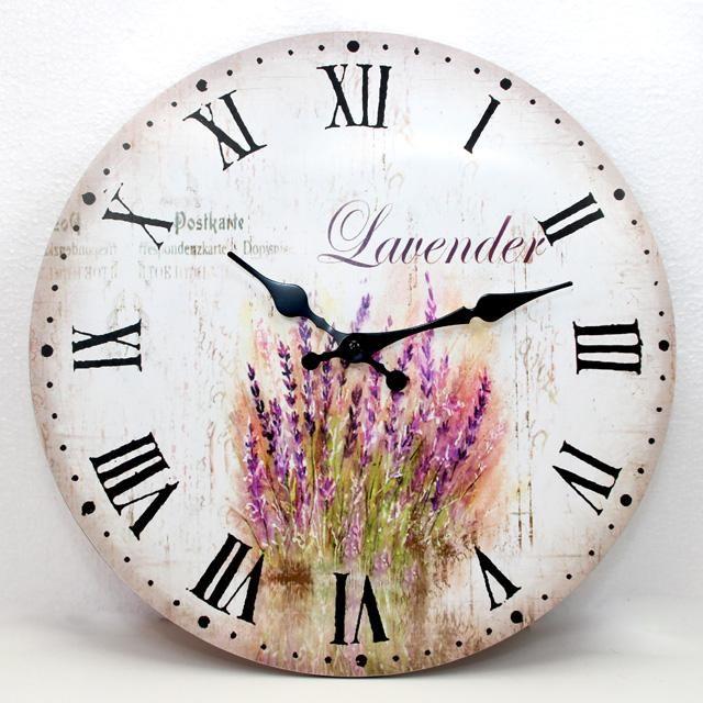 Nástěnné hodiny s trsem levandule