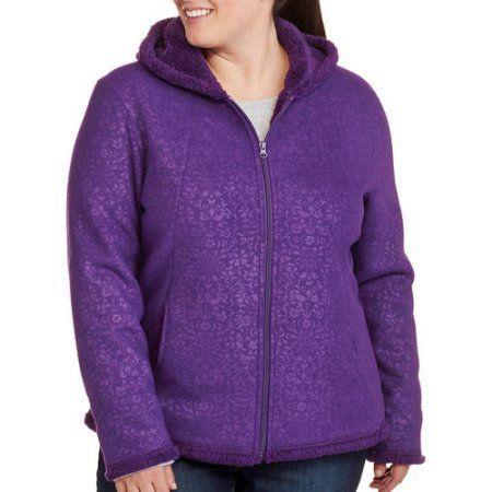 Faded Glory Women's Plus-Size Microfleece Hoodie With Cozy Sherpa Lining, Purple