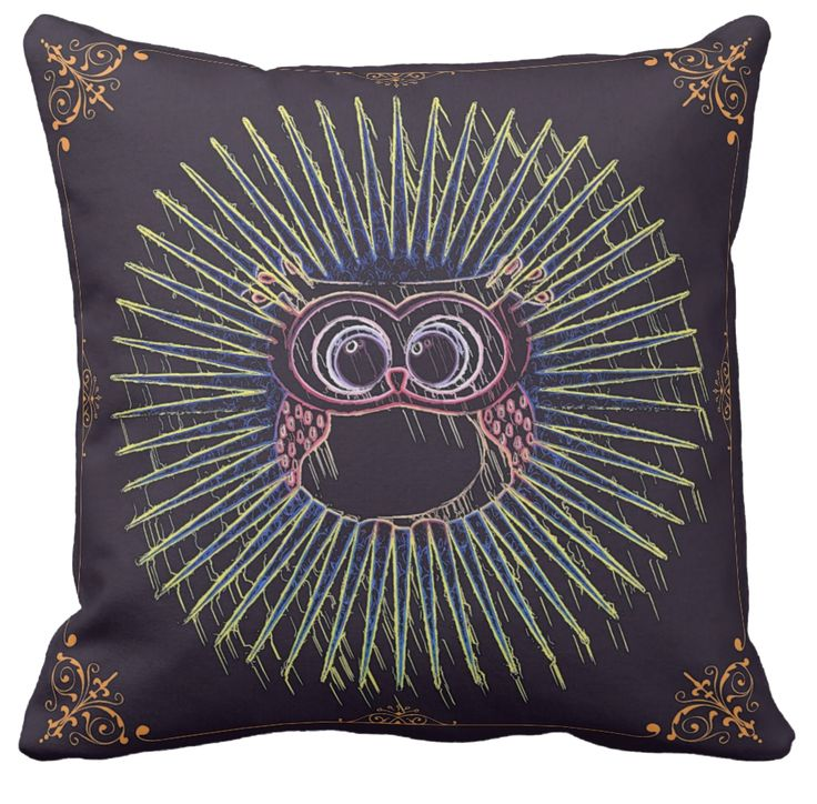 The wise old owl watches everything. Those huge eyes don't miss a beat. They see best at  night (thus the black cushion) I thought this classy looking cushion would look pretty cool for your home decor.