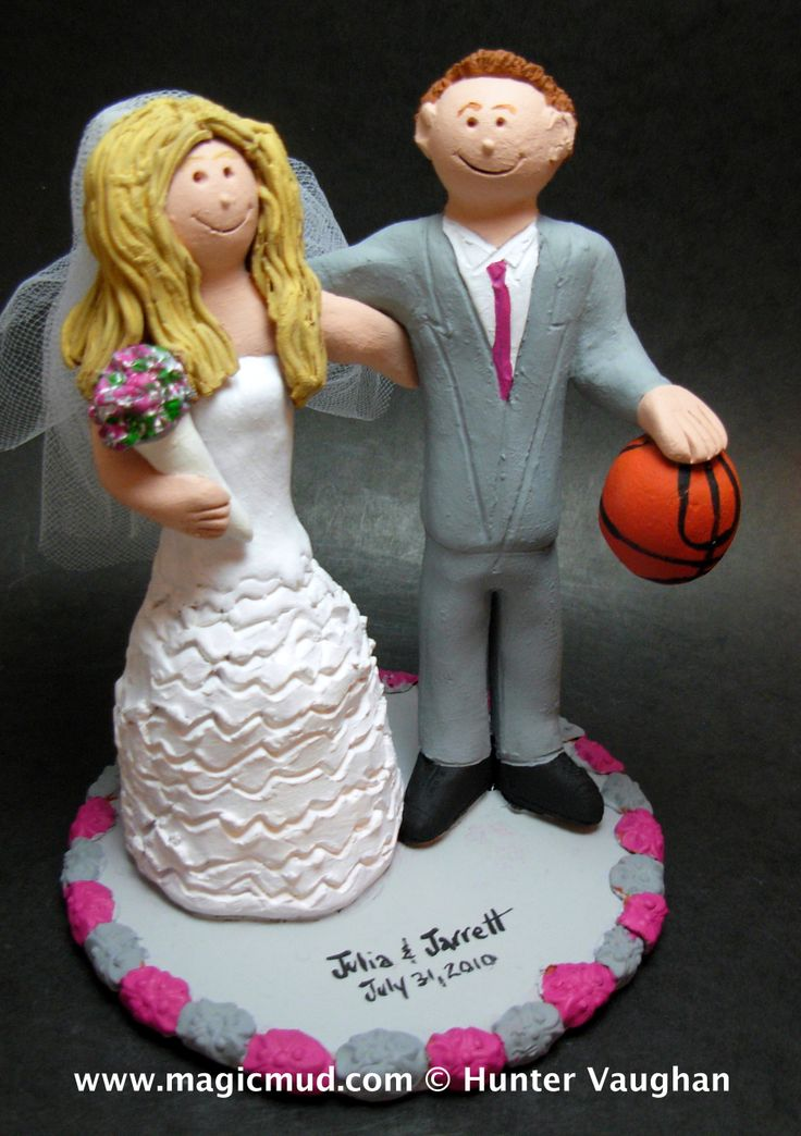 Groom With Basketball Wedding Cake Topper by http://magicmud.com/Wedding photos.htm magicmud@magicmud.com  1 800 231 9814  https://www.facebook.com/PersonalizedWeddingCakeToppers  https://twitter.com/caketoppers  #wedding #cake #toppers #custom#personalized #Groom #bride #anniversary #birthday#weddingcaketoppers#cake toppers#figurine#gift#wedding cake toppers#basketball