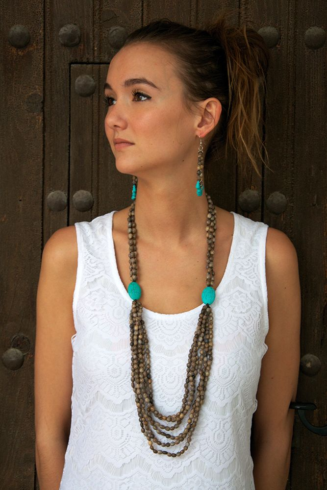 Mary's Tears Seeds and Turquoise Necklace