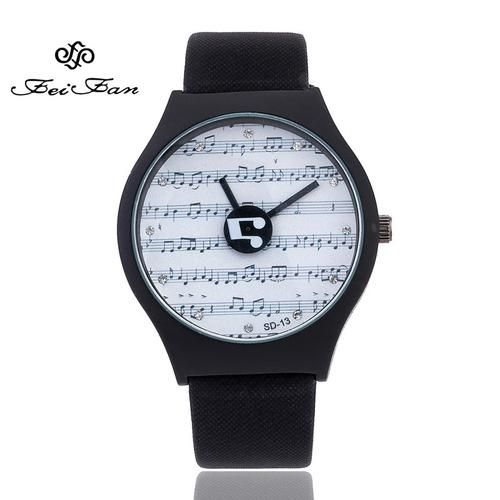 Creative turntable Women's Watches Casual musical note Design