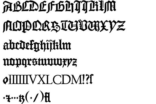 1454 Gutenberg Bibel font