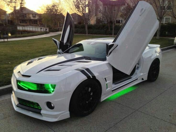 Fastest Car In The World 2015 >> White Camaro with Black Racing Strips & Neon Green Lights ...