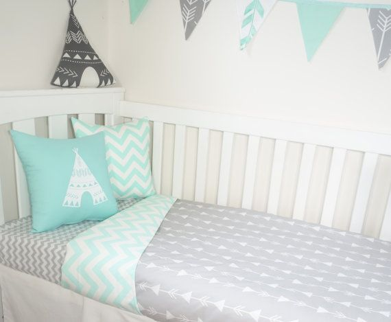 Grey arrows and mint chevron nursery set by MamaAndCub on Etsy