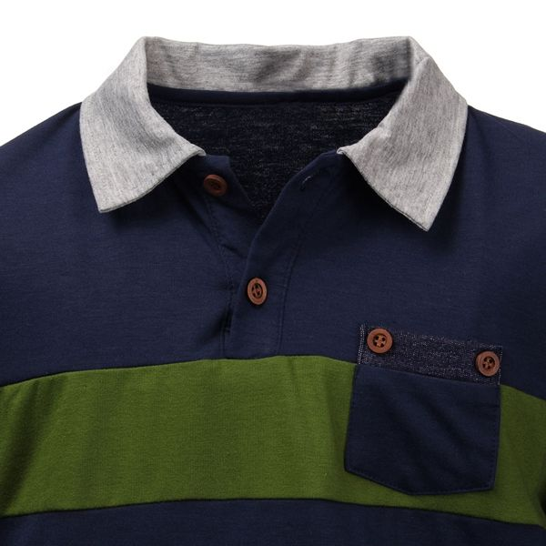 Summer Mens Button Color Stripes Hit Color Short-sleeved POLO Shirt T-shirt
