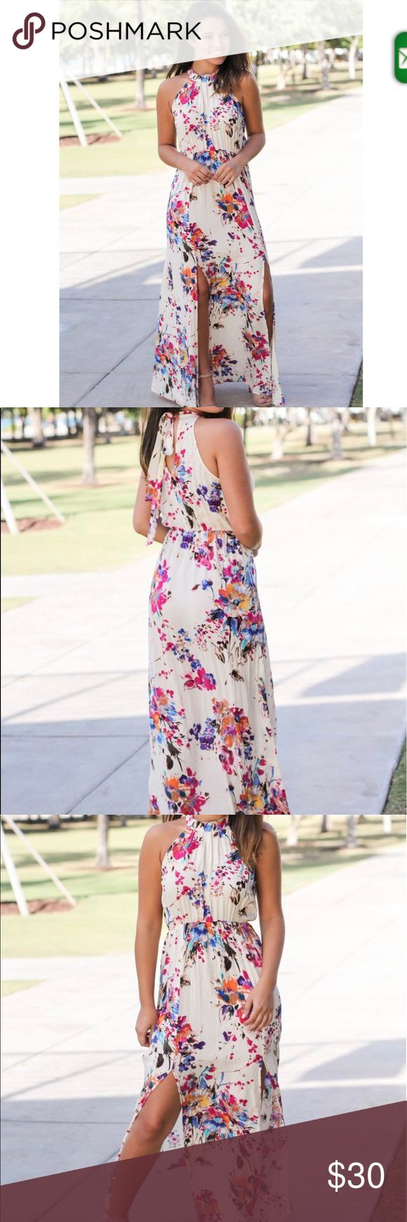 Ivory Floral Halter Neck Maxi Dress Ivory halter neck floral maxi dress. Perfect for a wedding or a night out! Saved By the Dress Dresses Maxi