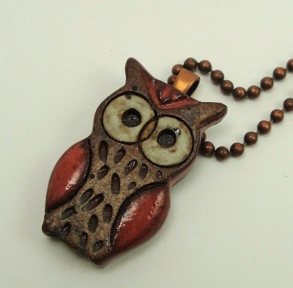 Little Red Owl ceramic necklace, ceramic pendant, vessel, pottery, stoneware clay ceramic jewelry, a must-have for owl lovers. $24.50, via Etsy.