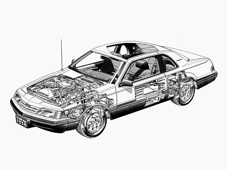 1987-88 Ford Thunderbird - likely illustrated by Terry Davey