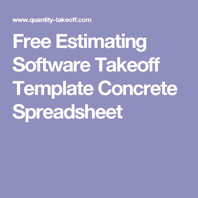 Free Estimating Software Takeoff Template Concrete Spreadsheet