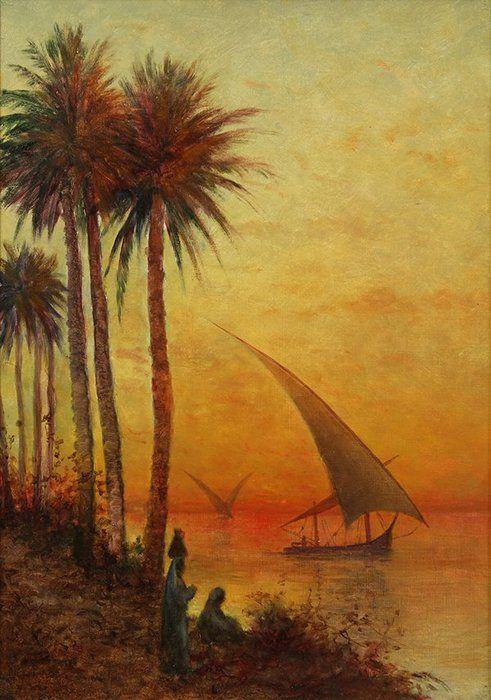 Coucher de soleil sur le Nil de Antal Ligeti (1823-1890, Romania)