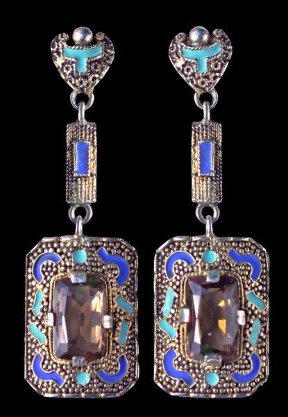 A pair of Art Deco gilded silver, enamel, smokey quartz earrings, by Theodor Fahrner, German, circa 1928. Signed 'TF'. Length 5cm. #Fahrner #ArtDeco #earrings