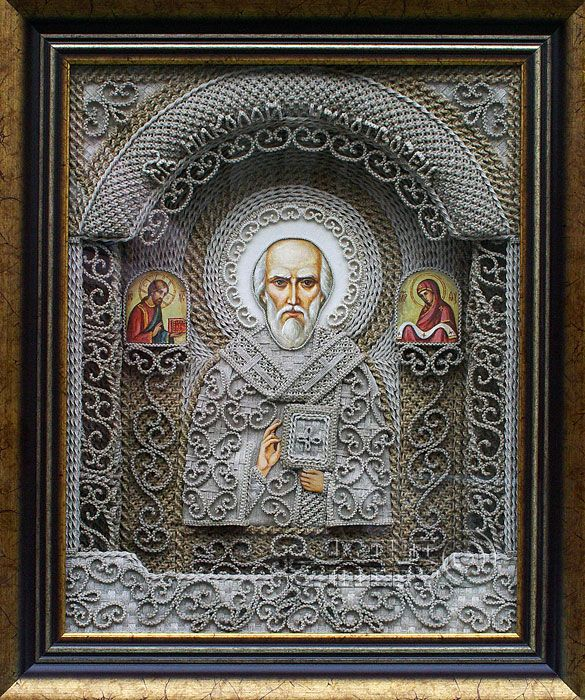 macrame, macrame art, St. Nicolas icons, icons art, religious icons, russian religious icons, icons art. Applied art. St Nicholas the Miracle-Maker. Denshchikov Vladimir