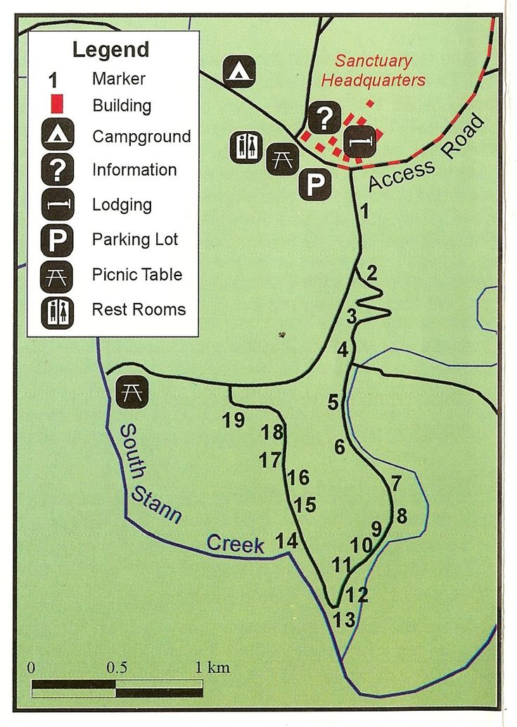 Map for Self-Guided Nature Walk at Cockscomb Basin Wildlife Sanctuary