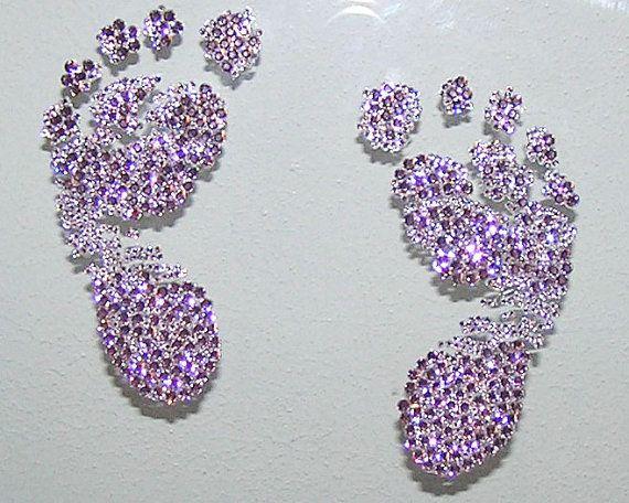 Wall Decor With Crystals : Nursery wall art custom swarovski crystal baby footprints