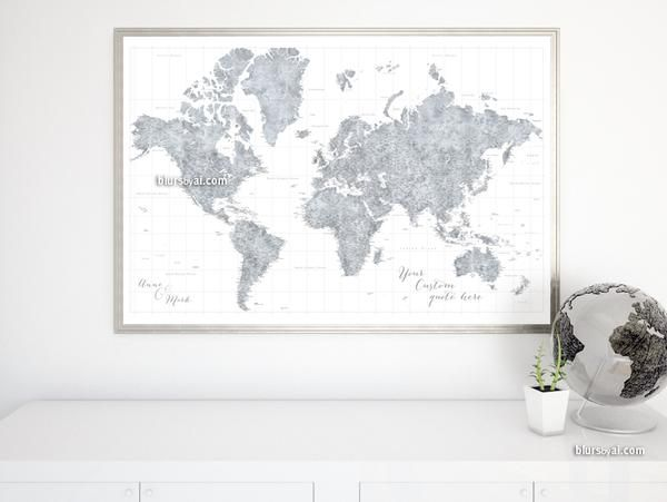 Mejores 12 imgenes de large and highly detailed world map prints personalized world map print highly detailed map with cities in grayscale watercolor jimmy gumiabroncs Gallery