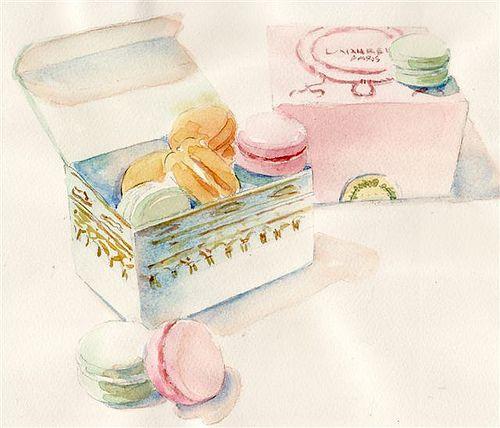 macaroons.Breakfast Cookies, Ladurée Macarons, Food, Watercolors, Art, Illustration, Paris Breakfast, French Macarons, Macaroons