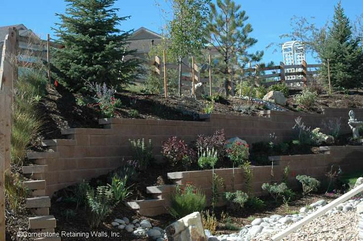 retaining wall ideas | The addition of tiered retaining walls, a dry rock bed, water fountain ...