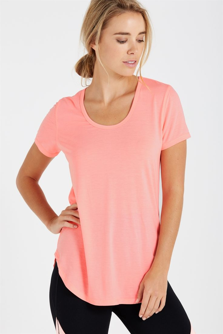 You can always depend on our Gym Tee for practicality & fashionability in one. This workout top is a perfect length and its ultra soft breathable fabric moves with you.<br /><br /> • Hip length body<br /> • Comfortable relaxed fit<br /> • Capped sleeve t-shirt<br /> • Scooped neckline<br /> • Curved scoop hem<br /> • Reflective detail aids visibilty in low light conditions<br /> • Moisture wicking fabr...