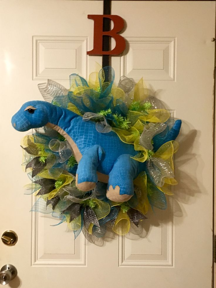 The start of something different! Dino deco mesh wreath