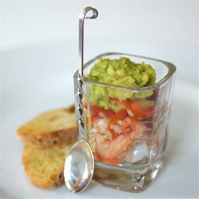 Crab & Avocado Amuse Bouche! Great to wet everyone's appetite before you even bring out the appetizer!