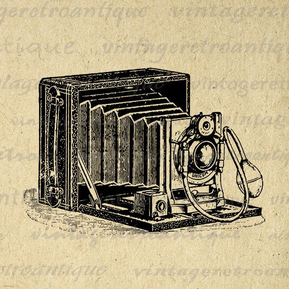 Printable Digital Old Fashioned Camera Image Download Illustrated Graphic Antique Clip Art for Transfers etc Jpg Png 18x18 HQ 300dpi No.1473 @ vintageretroantique.etsy.com