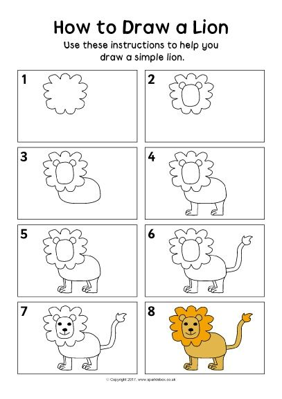 how to draw a lion family step by step