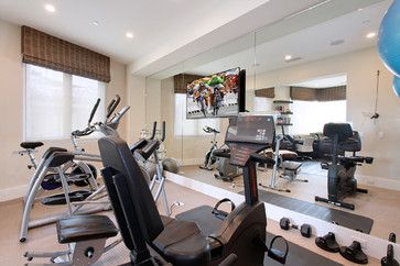 mirrored home gym with flat screen tv - Google Search