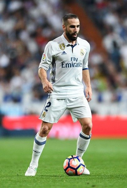 Daniel Carvajal of Real Madrid CF runs with the ball during the La Liga match between Real Madrid CF and FC Barcelona at the Santiago Bernabeu stadium on April 23, 2017 in Madrid, Spain.