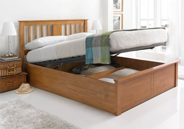 Malmo Oak Finish Wooden Ottoman Storage Bed - Light wood - Wooden Beds - Beds