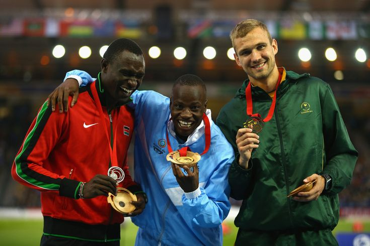 Nijel Amos - Gold for Botswana. David Rudisha - Silver for Kenya. and Andre Olivier - Bronze for South Africa. Photos: Commonwealth Games: Glasgow. Athletics: 800m men's final