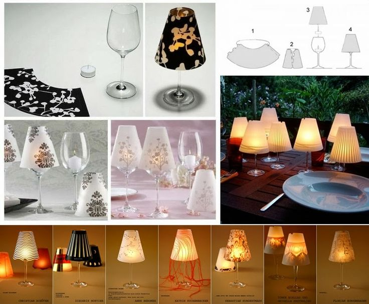 Turn Wine Glasses Into Candle Lampshades