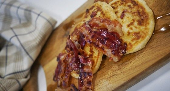 Breville® Crêpe Potato Pancakes with Crispy Pancetta and Maple Syrup #pancake #breakfast