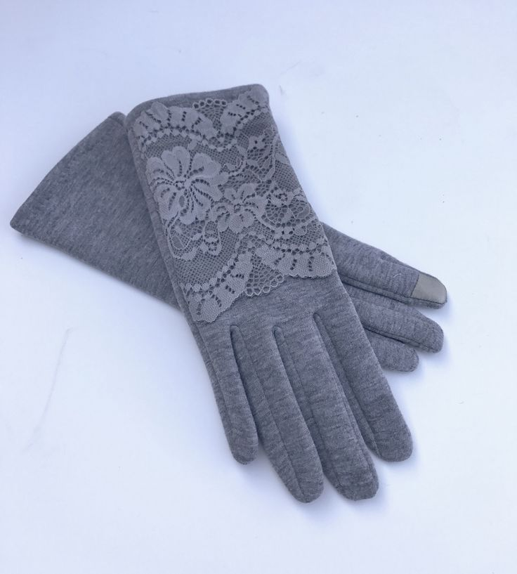 Womens Winter Fashion Grey Lace Lacey Touch Screen Outdoor Warm Gloves #glove #gloves #fashiongloves #winter #winterfashion #fashion #fashionaccessories
