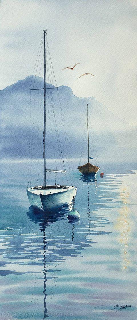 Voiliers Aquarelle Lumiere Peinture Paysage Paysage Aquarelle