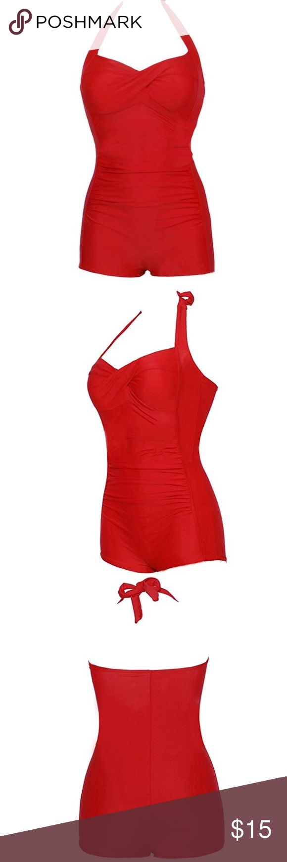 Retro red one piece Perfectly functional swimsuit, worn only once as a Halloween costume! My husband and I were Squints and Wendy Peffercorn. Size medium fit perfectly. Clean and mint condition. Use for your own costume or be a fabulous throwback on the beach with a floppy hat and some red lipstick  Swim One Pieces