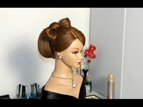 ▶ Hairstyles for long hair. Bun with hair bow. Прическа для длинных волос. Бабетта с бантом из волос. - YouTube