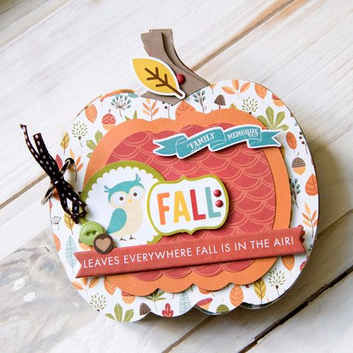 """Pumpkin shaped mini album created by Tegan Skwiat with the """"Fall is in the Air"""" collection by #EchoParkPaper and #Silhouette shapes"""
