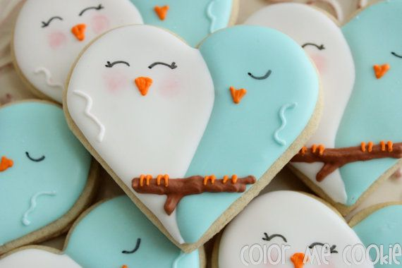 One dozen Lovebird SUGAR COOKIES by ColorMeCookies on Etsy