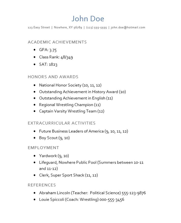 Sample Resumes For High School Students Alluring 286 Best Best Resume Format Images On Pinterest  Resume Templates .