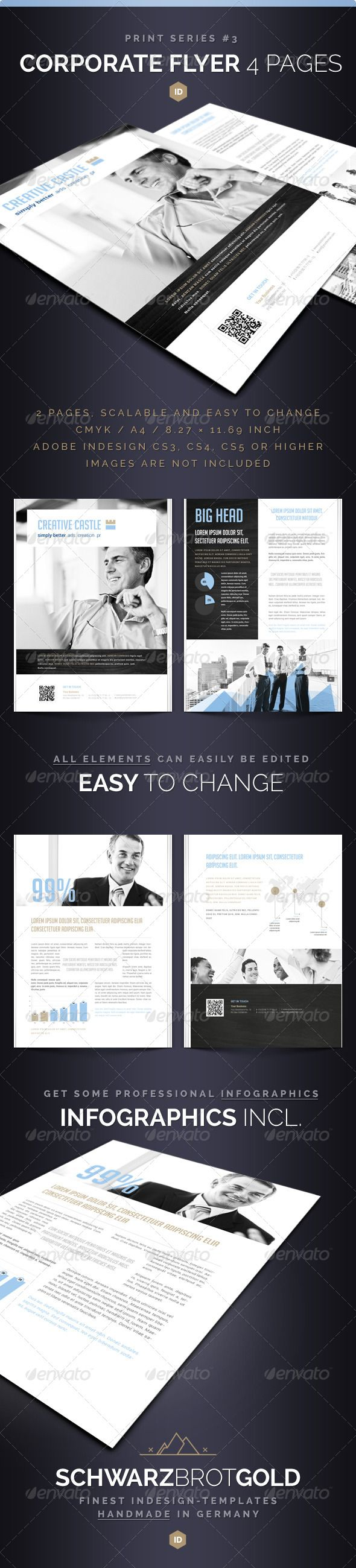 Corporate Flyer 4 Pages Series 3 #GraphicRiver If you like this, watch out the other Items of this Series Corporate Flyer 4 Pages Series 3 InDesign CS3 / CS4 / CS5 Hello! Thank you very much for purchasing this File. This multi-purpose 4 Page Flyer Template is available in InDesign CS3.inx, CS4.idml and CS5.indd-Format. All Texts and Images have been placed on separate Layers. Our Design can be used as a Template for Flyers, (Online-) PDF Files, Covers, Magazines, Styles, Leaflets, Corporate…