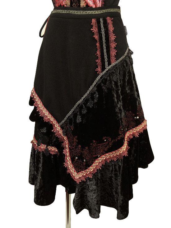Fancy Patchwork Velvet Skirt
